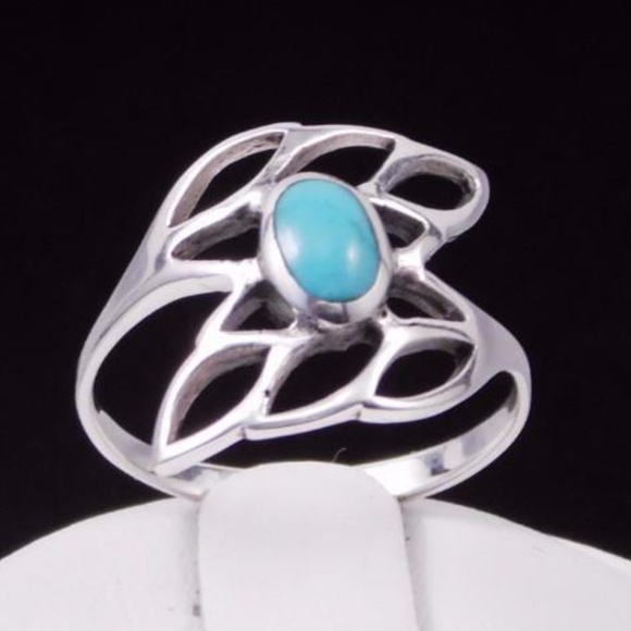 352bad5c772ff Abstract Turquoise Leaf Ring